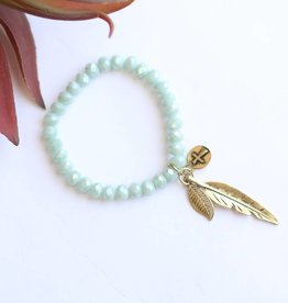 Punchy's Mint Sparkle Bead Stretch Bracelet with Gold Feathers