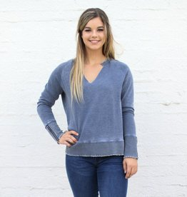 Punchy's Zipper Sleeve Indigo Burnout Pullover