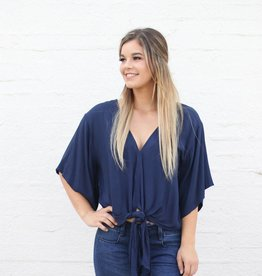 Punchy's Navy Deep V Neck Front Tie Blouse