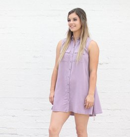 Punchy's Lavender Tencel Button Down Swing Dress Tunic