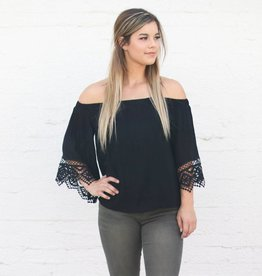 Punchy's Black Off the Shoulder Embroidered Sleeve Blouse