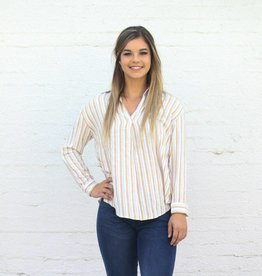 Punchy's Mustard Striped Long Sleeve Blouse