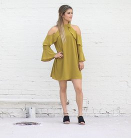 Punchy's Mustard Ruffle Cold Shoulder Dress