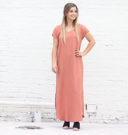 Punchy's Dusty Rose Strappy Back Maxi Shift Dress