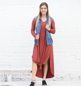 Punchy's Marsala Long Sleeve Flowy Maxi Dress