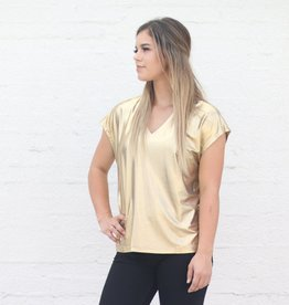 Punchy's Metallic Gold V Neck Top