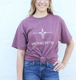 Punchy's Heather Maroon Punchy's Logo Tee