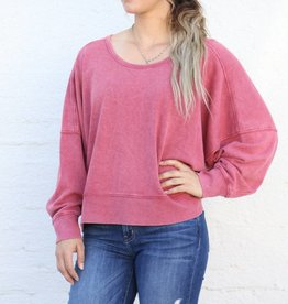 Punchy's Red French Terry Oversized Pullover