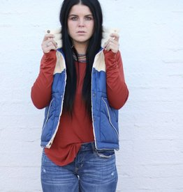 Punchy's Navy and Corduroy Retro Puffer Vest