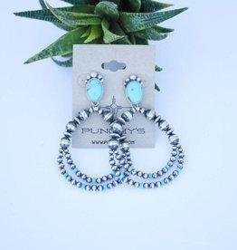 Sleeping Beauty Navajo Pearl Post Earring