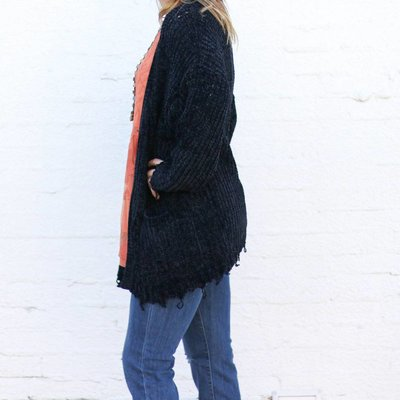 Punchy's Black Oversized Distressed Chenille Knit Cardigan