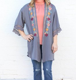 Punchy's Charcoal Embroidered Kimono