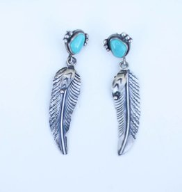 Punchy's Fox Turquoise and Feather Earring