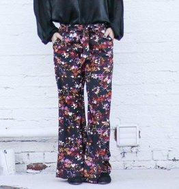 High Waist Black Floral Wide Leg Pants with Belt