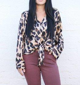 Punchy's Leopard Tie Front Surplice Blouse