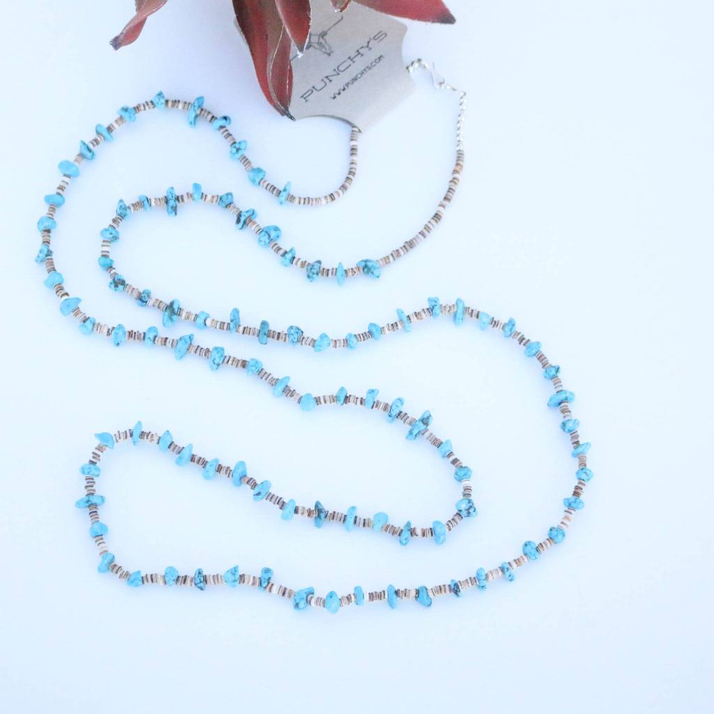 Punchy's Mini Blue Turquoise and Heishe Long Necklace