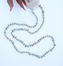 Mini Green Turquoise and Heishe Long Necklace