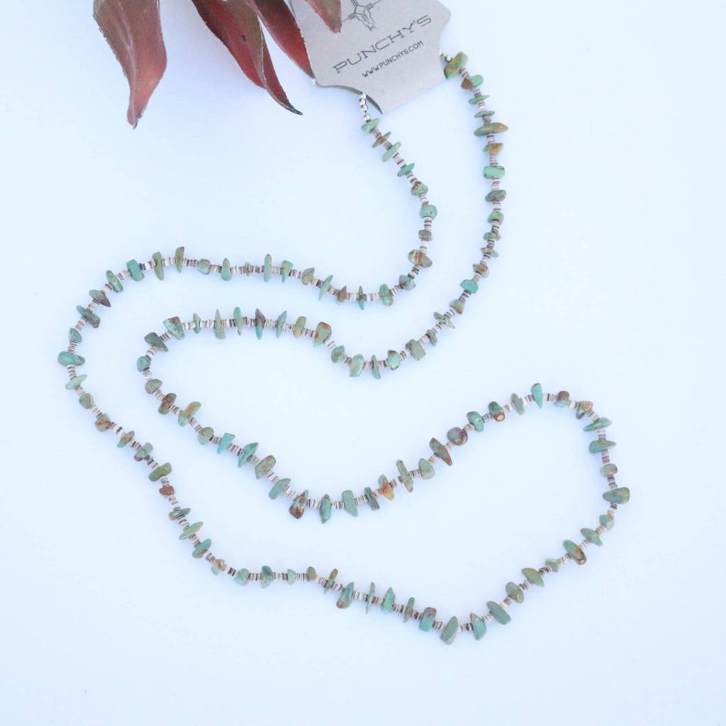 Punchy's Mini Green Turquoise and Heishe Long Necklace