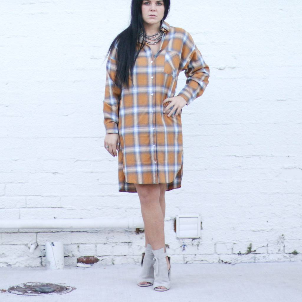 Punchy's Mustard Plaid Woven Dress