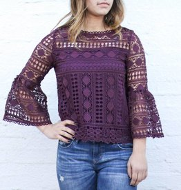 Plum Lace Bell Sleeve Top