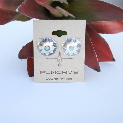 Punchy's Round Basketweave Stud with Turquoise