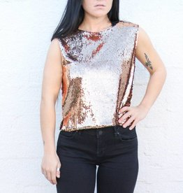 Punchy's Sleeveless Copper Sequin Tank