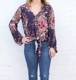 Wine and Floral Deep V Neck Front Tie Blouse