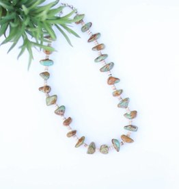 Punchy's 20in Green Brown Turquoise & Heishe Necklace