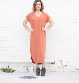 Punchy's Long Basic Knit Maxi V Neck Dress