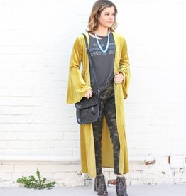 Punchy's Mustard Velvet Duster with Bell Sleeve