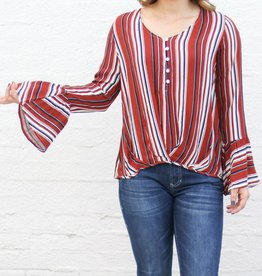 Punchy's Rust Striped Bell Sleeve Blouse
