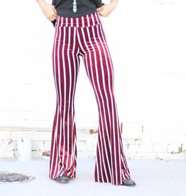 Punchy's Velvet Wine Striped Bell Bottoms