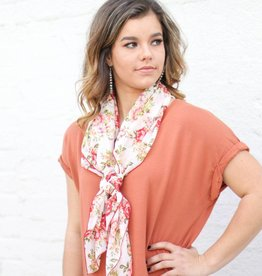 White and Coral Rose Wild Rag