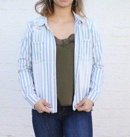 Punchy's Katya Striped Pearl Snap Long Sleeve Top
