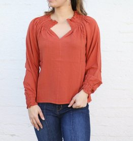 Punchy's Rust Ruched Long Sleeve Blouse