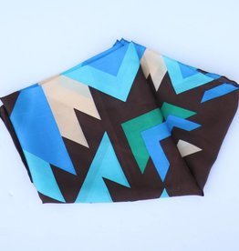 Punchy's Brown Blue Southwest Silk Scarf