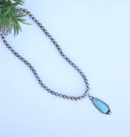 Punchy's Silver Melon Bead Necklace with Turquoise Navajo Inspired Pendant