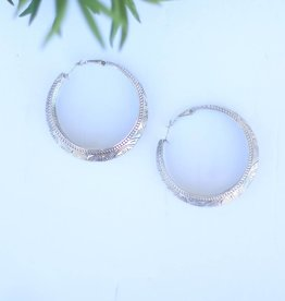 Punchy's Silver Tooled Hoop Earring