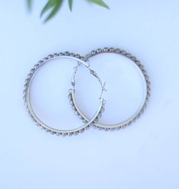Punchy's Worn Silver Trimmed Hoop Earring