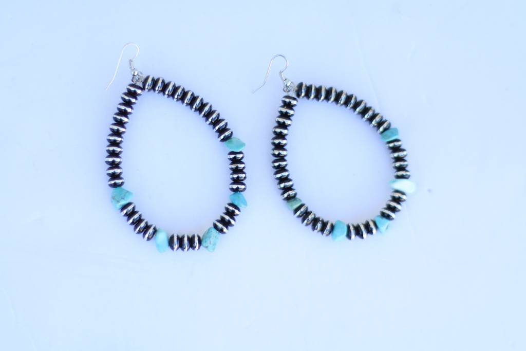 Punchy's Silver, Black and, Turq Teardrop Earring