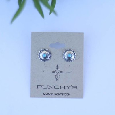 Punchy's Small Sterling Silver Flower with Turquoise Stud