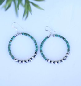 Punchy's Green Turquoise Hoop with Pearls