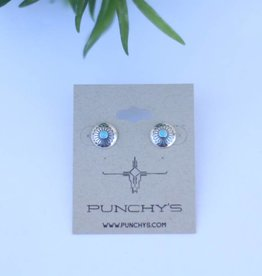 Punchy's Small Round Feathers Stud with Turquoise
