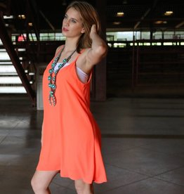 Punchy's Neon Coral Open Back Tank Dress