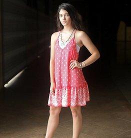 Punchy's Coral Aztec Print Mini Dress
