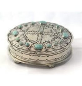 Punchy's Stamped Oval Box with Turquoise