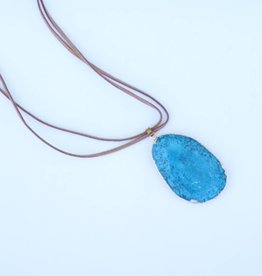 Punchy's BG Teal Stone Pendant with Leather Necklace