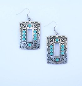 Punchy's Burnished Silver Rectangle Earrings with Turq Stone Accents