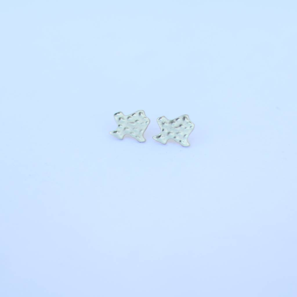 Punchy's Mini Hammered Burnished Gold Texas on Post Earring