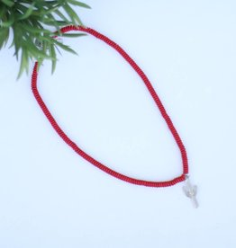 Punchy's Red Round Bead Necklace with Silver Cactus Charm